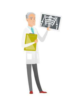Caucasian doctor examining a radiograph. Senior doctor in medical gown looking at chest radiograph. Doctor observing a skeleton radiograph. Vector flat design illustration isolated on white background