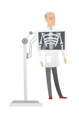 Senior Caucasian roentgenologist doctor during chest x ray procedure. Roentgenologist doctor with x ray screen showing her skeleton. Vector flat design illustration isolated on white background.