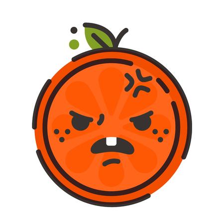 Furious face emoji. Furious orange fruit emoji. Vector flat design emoticon icon isolated on white background.