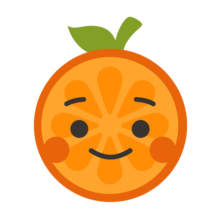 Happy smile emoji. Smiley orange fruit emoji. Vector flat design emoticon icon isolated on white background.