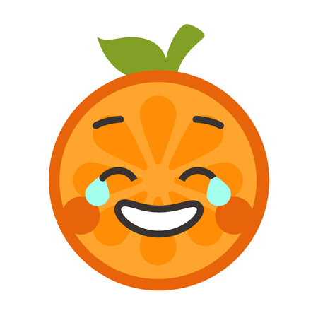Laugh with tears emoji. Laughing with tears orange fruit emoji. Vector flat design emoticon icon isolated on white background.