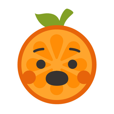 Scream emoji. Screaming orange fruit emoji. Vector flat design emoticon icon isolated on white background.