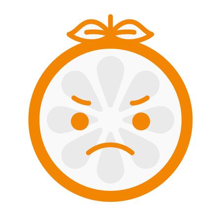 Angry Face Emoji Angry Orange Fruit Emoji Vector Flat Design