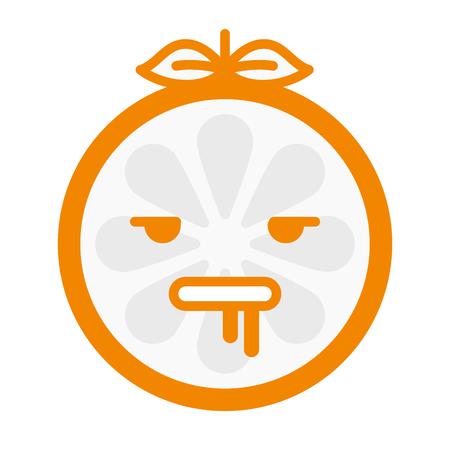 demented: Crazy orange emoji. Crazy orange fruit emoji. Vector flat design emoticon icon isolated on white background.