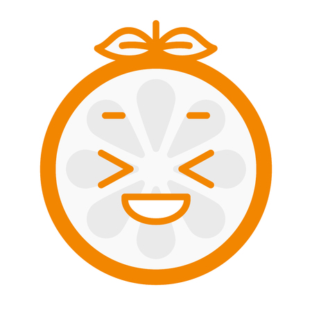 joyous: Enjoy emoji. Smiley enjoying orange fruit emoji. Vector flat design emoticon icon isolated on white background.