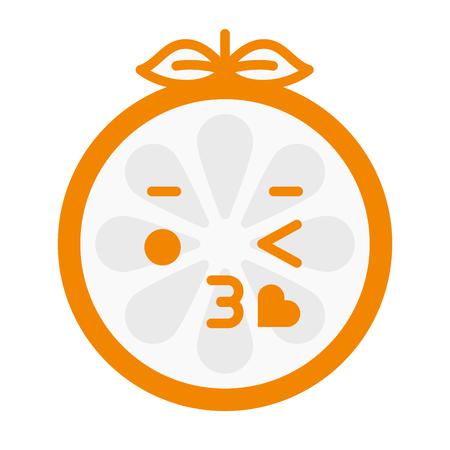 beguin: Kiss emoji. Kissing orange fruit emoji with heart. Vector flat design emoticon icon isolated on white background. Illustration