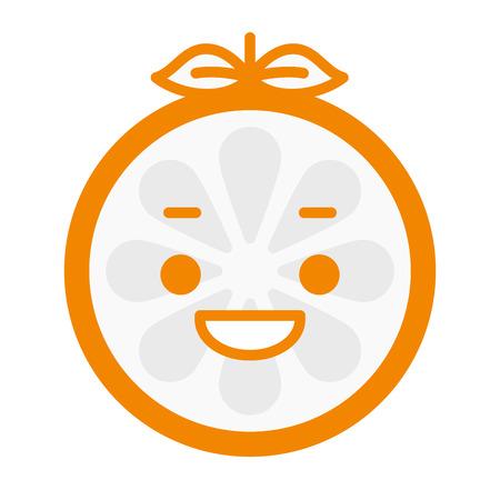 Laugh emoji. Laughing orange emoji de fruits. Vector icône émoticône design plat isolé sur fond blanc.