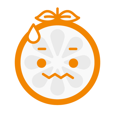 concerns: Worry emoji. Worrying orange fruit emoji with drop of sweat. Vector flat design emoticon icon isolated on white background. Illustration