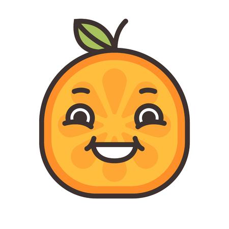 yak: Laugh emoji. Laughing orange fruit emoji. Vector flat design emoticon icon isolated on white background. Illustration