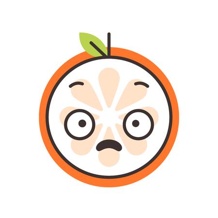 Shock emoji. Smiley orange fruit emoji. Vector flat design emoticon icon isolated on white background.