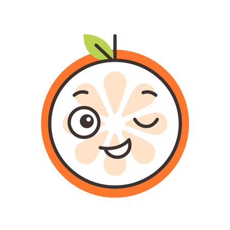 Wink emoji. Winking smiley orange fruit emoji. Vector flat design emoticon icon isolated on white background. Illustration
