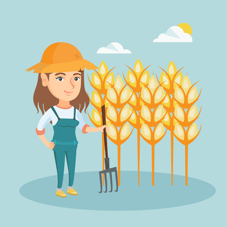 Young caucasian farmer in summer hat standing with a pitchfork on the background of a wheat field. Smiling farmer working with pitchfork in a wheat field. Vector cartoon illustration. Square layout. Illustration