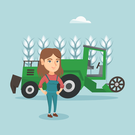 Caucasian farmer standing on the background of combine harvester working in a wheat field. Young farmer and combine harvester harvesting wheat in a field. Vector cartoon illustration. Square layout.