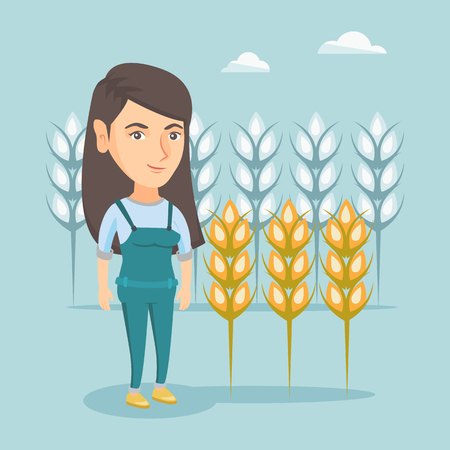 Young caucasian rancher standing on the background of wheat field. Smiling rancher working in a wheat field. Cheerful rancher checking wheat harvest. Vector cartoon illustration. Square layout.