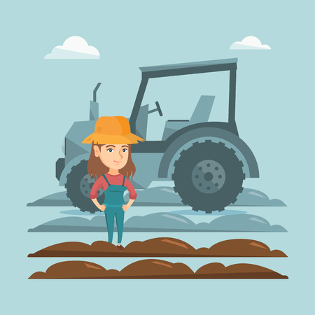 Caucasain happy farmer in summer hat standing on the background of tractor preparing land. Young smiling farmer standing in a field in front of tractor. Vector cartoon illustration. Square layout.