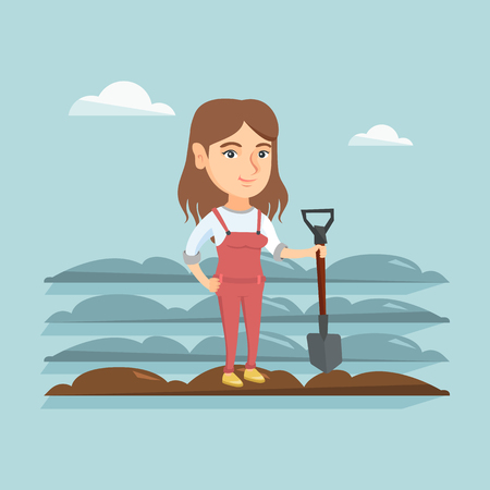 Young caucasian farmer standing with a shovel on the background of plowed field. Farmer working in field with a shovel. Farmer plowing field with a shovel. Vector cartoon illustration. Square layout.