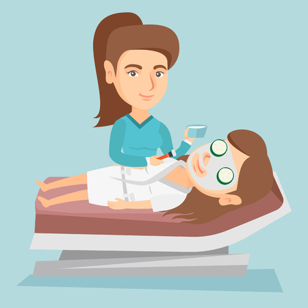 Cosmetologist applying facial cosmetic mask on face of a client in beauty salon. Young woman lying on table in salon during cosmetology procedure. Vector cartoon illustration. Square layout.