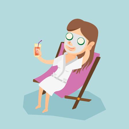 フェイス マスクの長椅子で横になっていると、カクテルを飲むと若い白人女性。幸せな女の美容サロンでリラックス。女性取得美容トリートメント  イラスト・ベクター素材