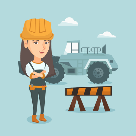 Young caucasian builder standing with crossed arms. Confident female builder in hard hat standing on the background of road barrier and excavator. Vector cartoon illustration. Square layout.