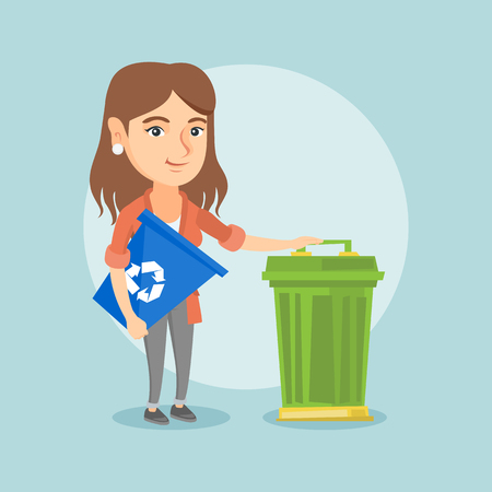 Young caucasian woman carrying a recycling bin. Smiling woman holding recycling bin while standing near a trash can. Concept of waste recycling. Vector cartoon illustration. Square layout.