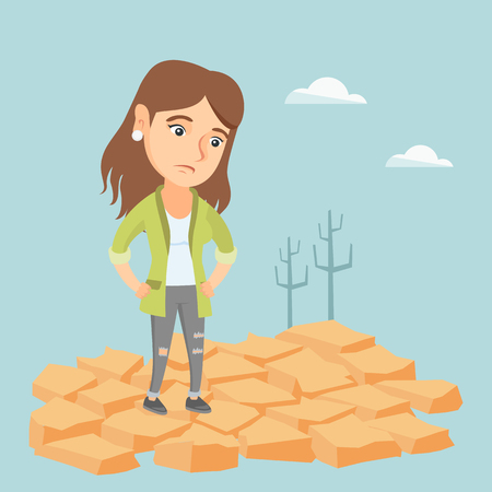barrenness: Young caucasian woman standing in the desert. Frustrated woman standing on the cracked earth in the desert. Concept of climate change and global warming. Vector cartoon illustration. Square layout.