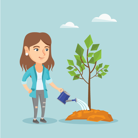 Caucasian friendly woman watering a tree with a watering can. Young woman planting a young tree. Concept of environmental protection. Vector cartoon illustration. Square layout.