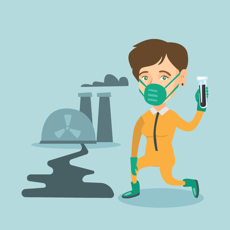 vector nuclear: Young caucasian scientist in gas mask and yellow protective suit holding a test-tube with black liquid on the background of nuclear power plant. Vector cartoon illustration. Square layout.