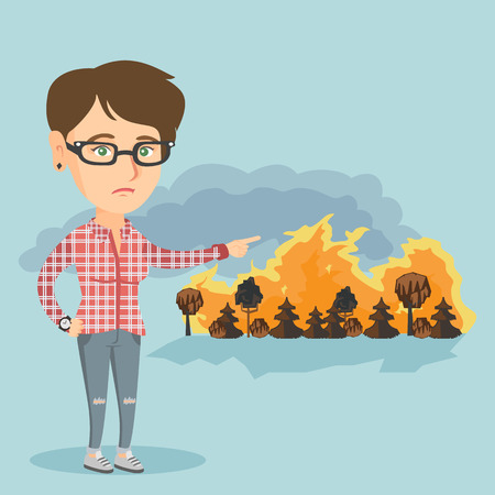 Caucasian woman pointing at the forest in fire. Frustrated woman standing on the background of a big forest fire. Concept of environmental destruction. Vector cartoon illustration. Square layout. Illustration