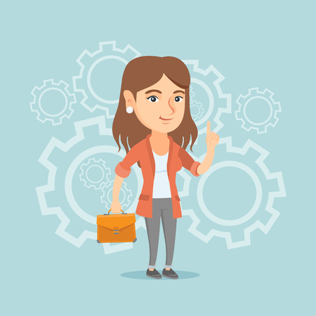 came: Caucasian businesswoman standing on the background of cogwheels and pointing finger up because she came up with business idea. Woman having business idea. Vector cartoon illustration. Square layout.
