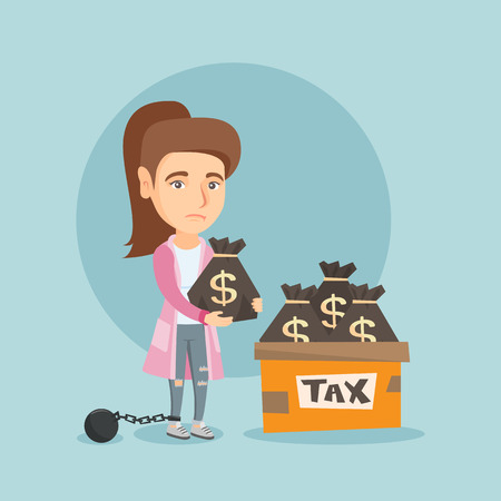 Chained caucasian business woman standing near bags with taxes. Young upset business woman holding bag with dollar sign. Concept of tax time and taxpayer. Vector cartoon illustration. Square layout.