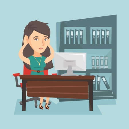 Stressed caucasian office worker clasping her head. Overworked office worker feeling stress from work. Young stressful office worker sitting at workplace. Vector cartoon illustration. Square layout.
