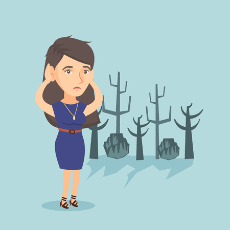 Young caucasian disappointed woman scratching head while standing in a dead forest caused by global warming or wildfire. Environmental destruction concept. Vector cartoon illustration. Square layout. Illustration