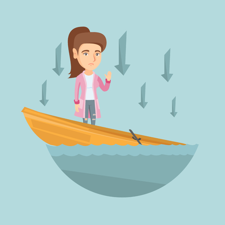 Business woman standing in sinking boat and asking for help. Business woman sinking and arrows behind her pointing down symbolizing business bankruptcy. Vector cartoon illustration. Square layout.