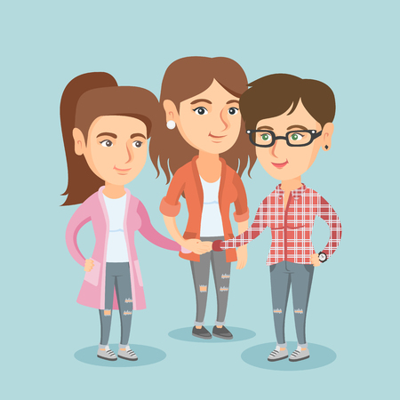 Group of business women joining hands. Caucasian business women putting their hands together. Business women stacking their hands. Partnership concept. Vector cartoon illustration. Square layout.