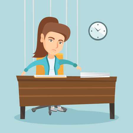 Caucasian office worker hanging on strings like a marionette. Office worker marionette sitting at workplace. Emotionless office worker marionette working. Vector cartoon illustration. Square layout.