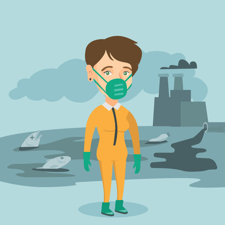 Caucasian woman in gas mask and yellow protective suit standing on the background of nuclear power plant. Young scientist wearing yellow protective suit. Vector cartoon illustration. Square layout. Illustration