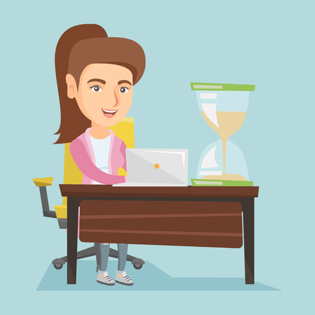 woman laptop: Young caucasian business woman sitting at the table with hourglass symbolizing deadline Illustration
