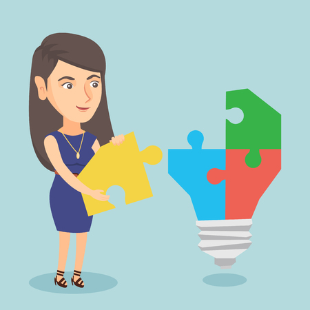 Caucasian business woman completing idea light bulb made of puzzle Ilustrace