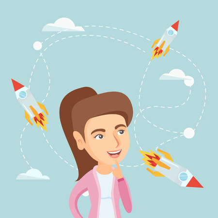 Caucasian business woman looking at flying start up rockets Illustration