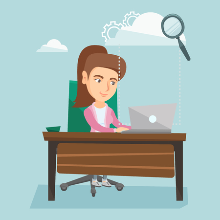 Young smiling business woman working on a laptop under the cloud. Caucasian business woman using cloud computing technologies. Vector cartoon illustration. Illustration