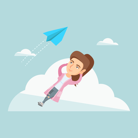 Business woman lying on the cloud and looking at flying paper plane. Caucasian business woman relaxing on the cloud.