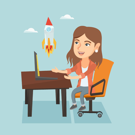 woman laptop: Caucasian business woman working on a laptop and looking at the rocket. Illustration