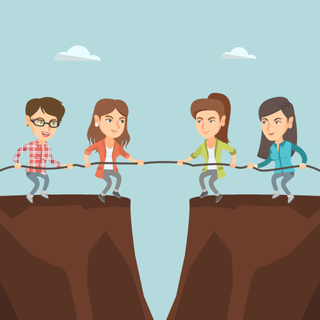 Two caucasian business team pulling rope on cliff. Competition between two teams of business people.