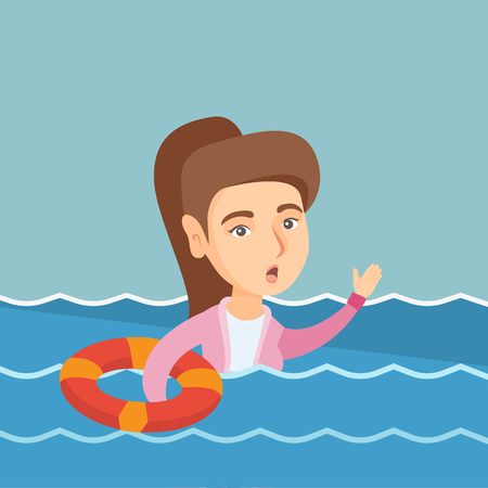 Young frightened business woman sinking and asking for help. Afraid caucasian sinking business woman floating with lifebuoy.