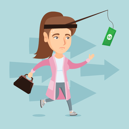Business woman motivated by money hanging on a fishing rod.