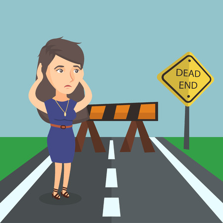 Caucasian business woman looking at road sign dead end symbolizing business obstacle. Young woman facing business obstacle. Illustration