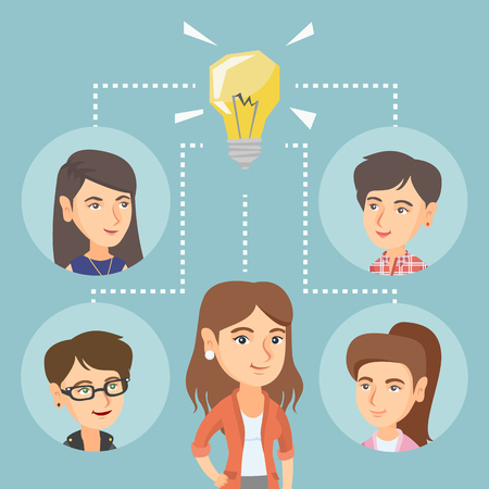 teamwork cartoon: Caucasian business women working on business idea. Young business women discussing idea. Group of business women connected by one idea light bulb. Vector cartoon illustration. Square layout.