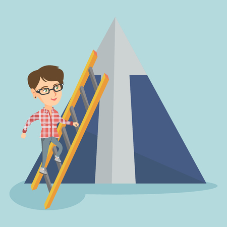 Young caucasian business woman using a ladder to climb the mountain with arrow going up. Business woman climbing upward on the top of mountain. Vector cartoon illustration. Square layout. Illustration