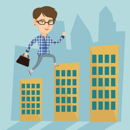 office building: Young businesswoman walking on the roofs of buildings over a cityscape representing business success.