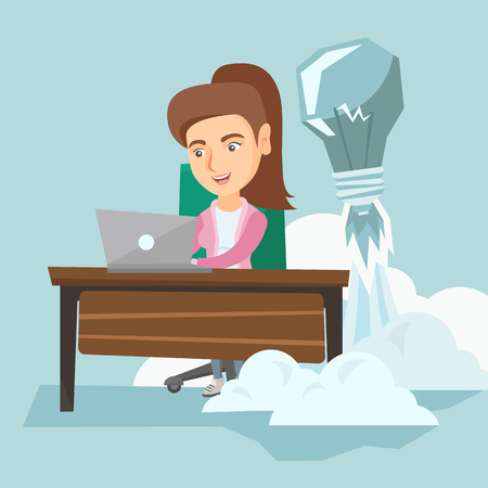 woman laptop: Caucasian manager working on a laptop in office while lightbulb taking off behind her back. Manager having business idea. Successful business idea concept. Vector cartoon illustration. Square layout. Illustration